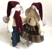 пара заек тильда Зайки гномики, подарок на Новый год, Рождество, дочке, девушке