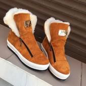 Угги ботинки зимние под бренд на молнии.Натуральный замш, внутри мех более 70 % шерсти.