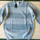 Свитер пуловер грубой вязки серый в полоску фирма Livergy размер L