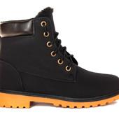 36 р Женские зимние ботинки утепленные черного цвета (P-2)