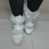 Зимние белые меховые ботиночки :-)