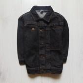 Черный джинсовый пиджак для плотного мальчика. Рукав три четверти. Adams. Размер 6 лет