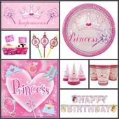 Посуда и декор для Дня Рождения в стиле Принцесса (Princess)
