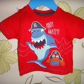 Красная футболка Rebel с акулой 9-12 мес, 80 см