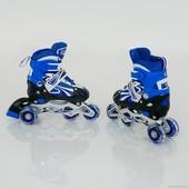 Ролики детские 0819 Размер S 32-35 переставные,синие