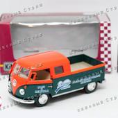 Металлическая инерционная машинка пикап, Volkswagen Bus double cab Pickup delivery, грузовик автобус
