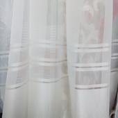 Тюль гардина шифон полоска, молочная или белая