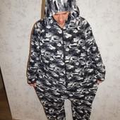 Jacoma слип флисовый, пижама человечек с капюшоном мужской р2ХL-3ХL
