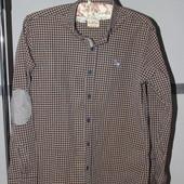 мужская рубашка в клетку с налокотниками