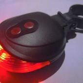 Задний фонарь на велосипед с лазером и 5 LED светодиодов не дорого.