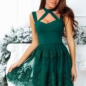 Вечернее платье  с чокером мини пышное и универсальное и красивое изумрудное и черное