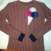 Свитшот с помпоном 100% кролик, свитер, трикотажная кофта