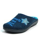 100-10S-041 женские домашние тапочки Inblu Инблу фетр, цвет - синий, размеры 35-41