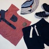 Комплект Next футболочка,панама,шорты  на мальчика 3-6 мес.