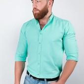 Рубашка однотонная, мужская. С длинным рукавом. Много расцветок.