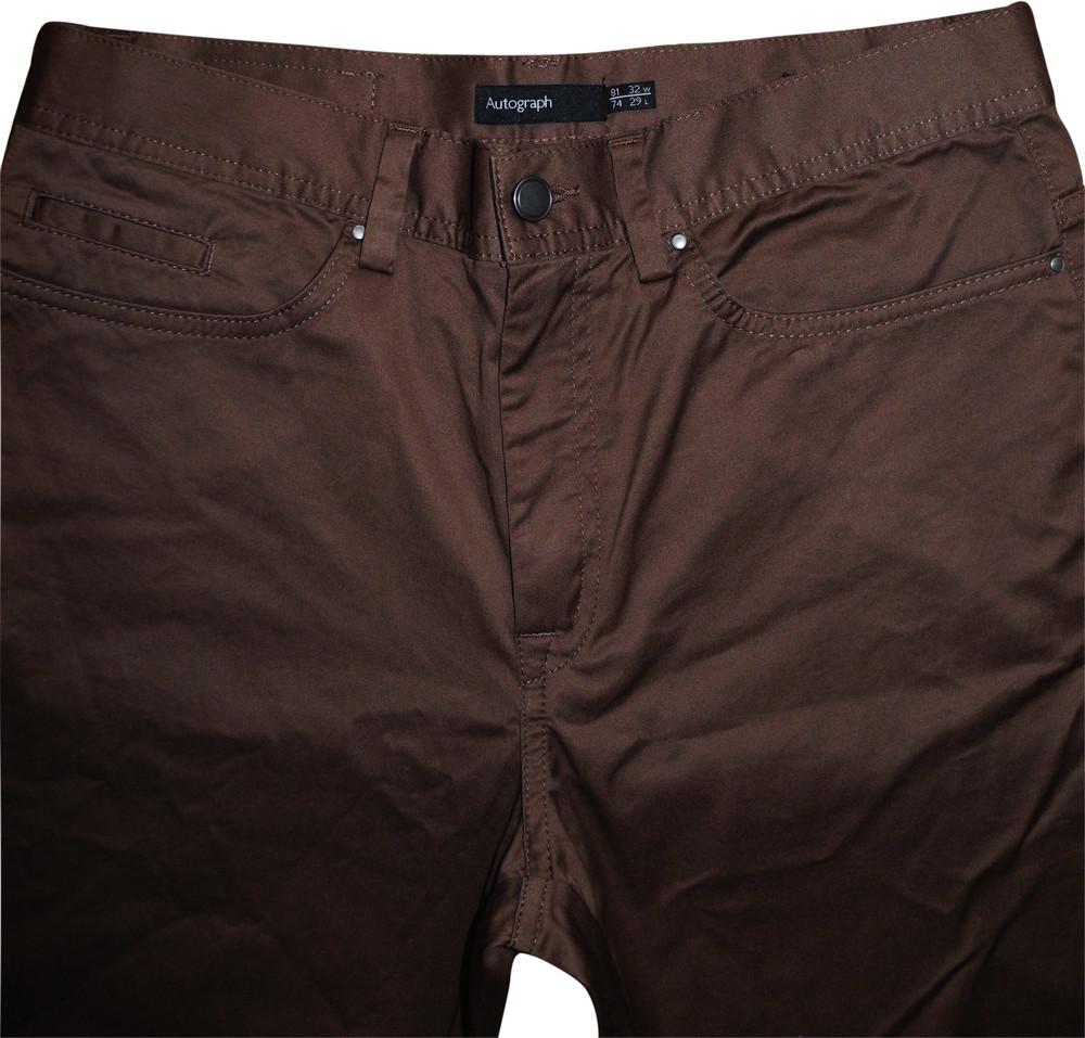 Мужские штаны брюки коричневые стрейч Autograph Marks&Spencer 29L 74cm / 32W 81cm фото №1