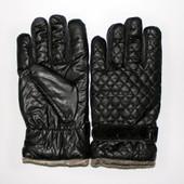 Перчатки мужские  из экокожи, подкладка: синтепон+флис