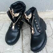 Ботинки зимние в стиле B@lm@in.  Натуральная кожа. Внутри мех(набивная шерсть)