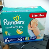 Памперсы pampers active baby,размер 6, упаковка 76 шт, уп+40 грн