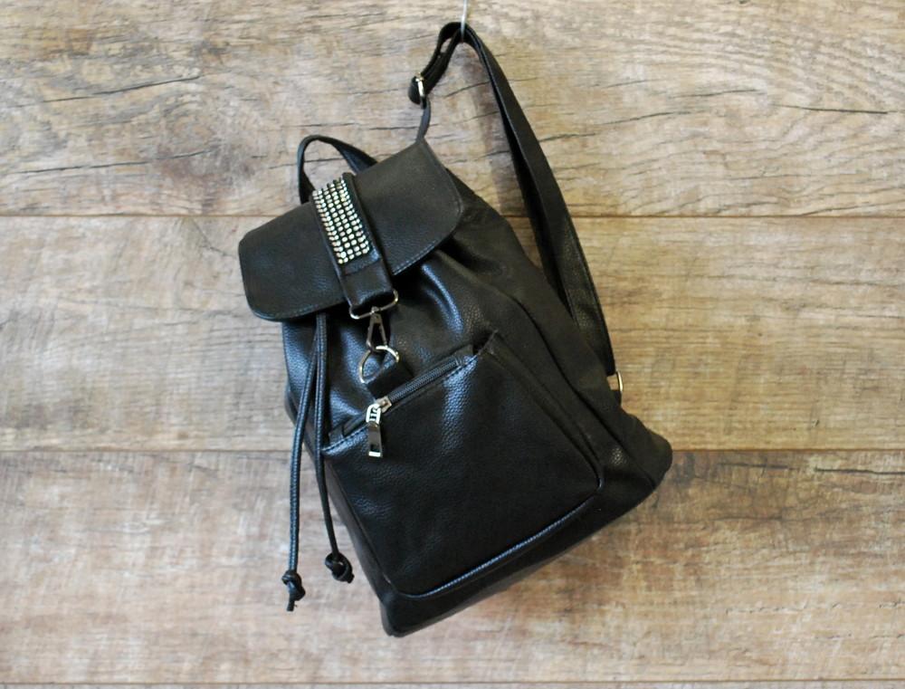 Стильный городской черный женский рюкзак со стразами купить недорого фото №1 9fd64754307