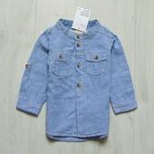 Новая рубашка для мальчика. Рукав можно сделать коротким. H&M. Размер 6-9 месяцев