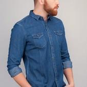 Рубашка джинсовая мужская, с длинным рукавом 366K001