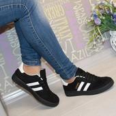 Кроссовки женские adidas черные замш реплика