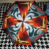 Детский новый зонтик трость для мальчика подростка серый с  оранжевым с машинами