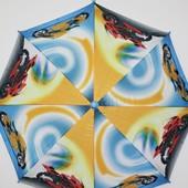 Детский новый зонтик трость для мальчика подростка голубой с желтым - с мотоциклами