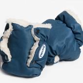 Перчатки меховые на коляску Twins dark blue