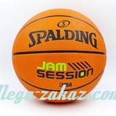 Мяч баскетбольный резиновый Spalding Jam Session Brick №7: резина, бутил
