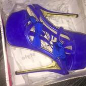 Нарядные синие босоножки на высоком каблуке, 36