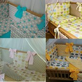 Двусторонние наборы постельного в кроватку 8 предметов