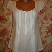 Блуза белая хлопковая с коротким рукавом р.8 Amisu