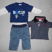 0-3 мес., 50-62 см, джинсы джинсики George  в подарок футболочки