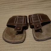 Практичные коричневые кожаные шлепанцы Oaktrak Англия 42 р.