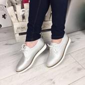 Ботиночки туфли серебро