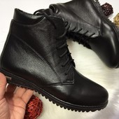 Женские демисезонные ботинки, кожаные, замшевые