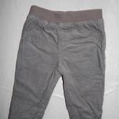 3-6 мес., зауженные вельветовые штанишки  F&F на подкладке