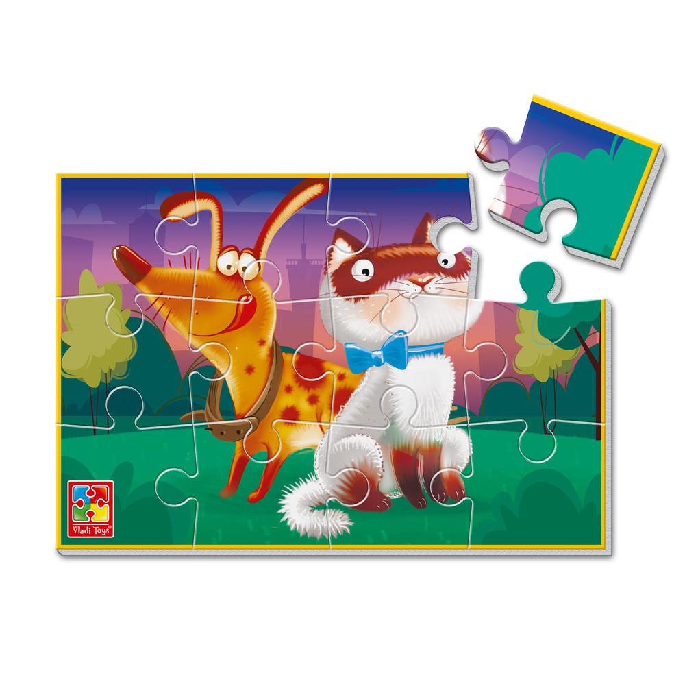 Мягкие пазлы а5 кот, пес, корова, мишка, львёнок, тигрёнок, жираф, зебра, поросёнок, пр. vladi toys фото №1