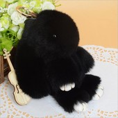 Меховой брелок Кролик черный