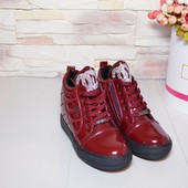 Ботиночки Шанель на флисе бордовые