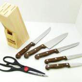 Набор ножей на деревянной подставке А-Плюс