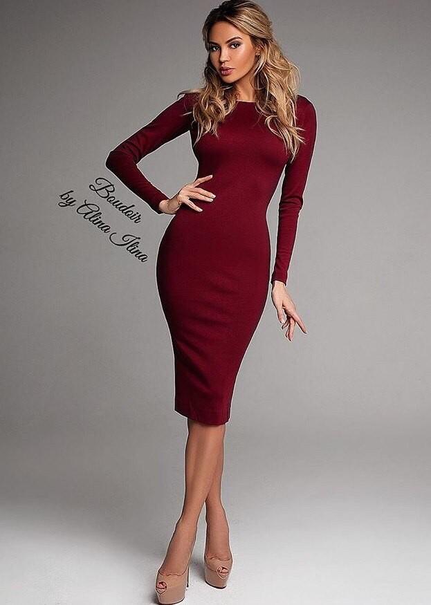 Хит! классическое платье-миди большие размеры фото №1