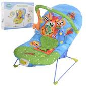 Детский шезлонг качалка 60661 А 3 положения музыка, вибро, дуга с подвесками