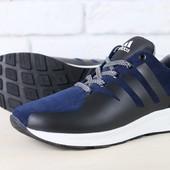 Мужские кроссовки, темно-синие, из натуральной замши, с кожаными вставками, на белой подошве, на шну