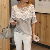 блузка женская блуза ХИТ продаж 2017 ТОП футболка ажурная кружево туника рубашка кофта свитер реглан