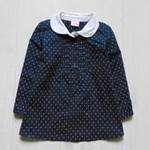 Стильная блуза для маленькой принцессы. Синяя в белый горох. Lindex. Размер 1 год. Состояние: новой