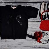Нежная кофточка болеро свитер 4 - 5 лет 110 см черная с блесткой люрексом и паетками