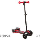 Самокат 3-х колеса, алюм.,колеса PU свет,ручка регул.,склад.,свет, дым, заряж.от USB
